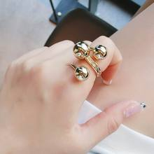 Simple Geometric Big Ball Ring Korean Fashion Personality Finger Rings For Women Gold/Silver Color Adjustable
