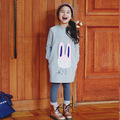 2016 Outono Coelho Dos Desenhos Animados Ocasional das Meninas Longas Camisas Crianças Pullovers Adolescente Suéter Crianças Outerwear Criança Encabeça Roupas