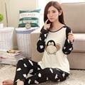Cartoon Monkey Pajama Sets Women Sleepwear Polyester Nightwear Long Sleeve Pajamas Tops and Pants Trousers P24 Black and Beige