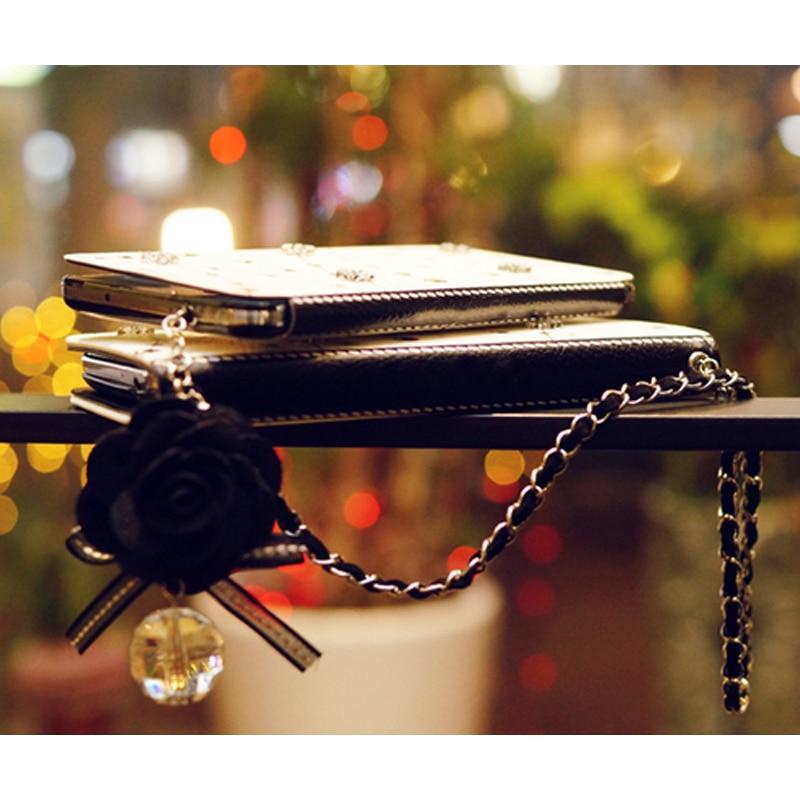 Lanyard Rantai Debu plug Kristal Bunga Kulit Kasus Flip Card Slot - Aksesori dan suku cadang ponsel - Foto 2