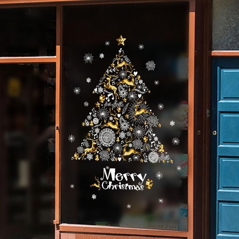 2017 NEW Christmas Shop Window Decoration Wall Removable Stickers Christmas Tree Deer S927