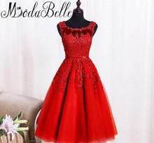 Modabelle Robe De Soiree Courte 2017 Red Prom Dress With Lace Appliques Short Beaded Prom Dresses For Graduation Party Dress