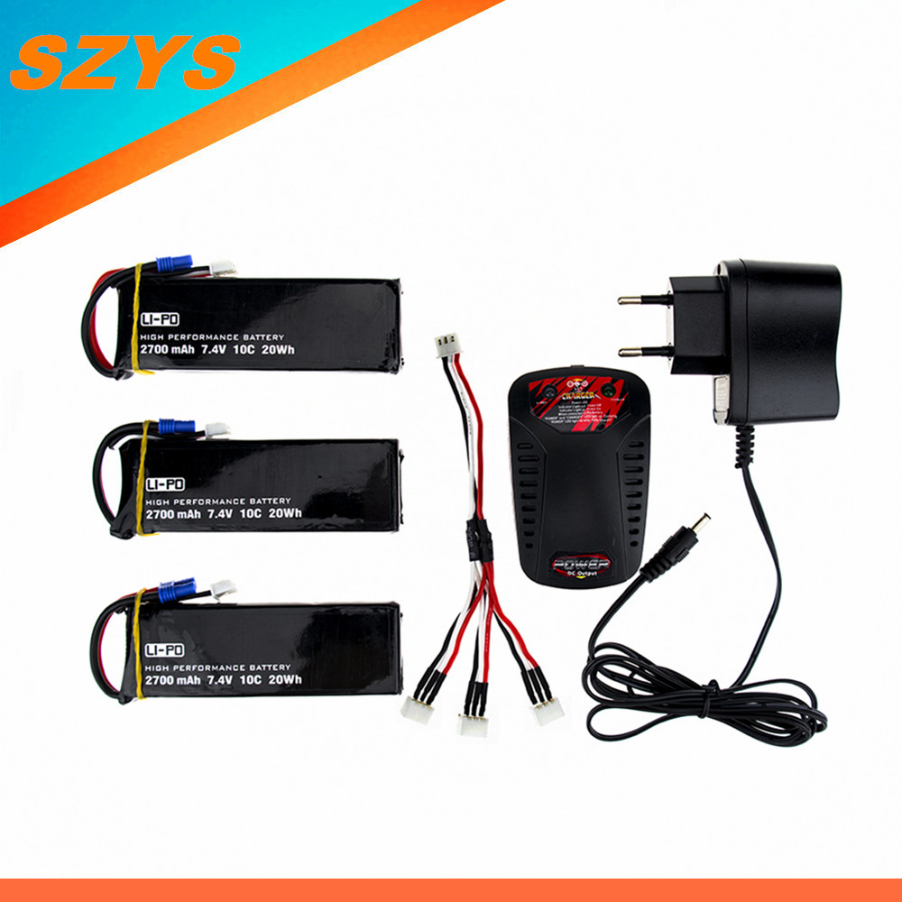 ФОТО H501S lipo battery 7.4V 2700mAh 10C Battery 3pcs with charger set for rc Quadcopter Airplane drone Spare Parts