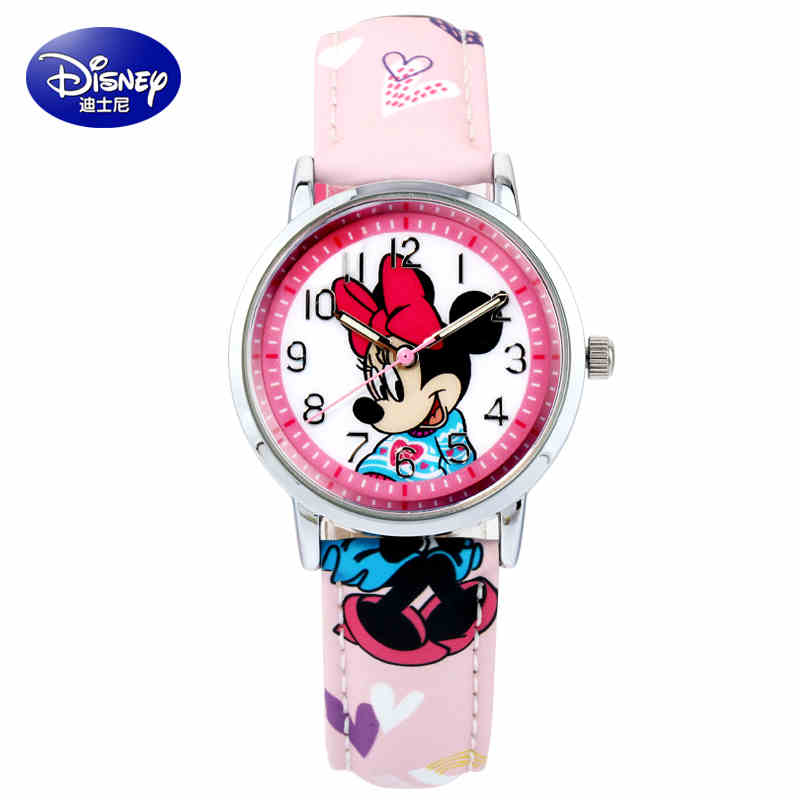 Authentic Disney Mickey Minnie mouse children lovely water resistant watch Boys girls fashion casual Kids leather steel watches