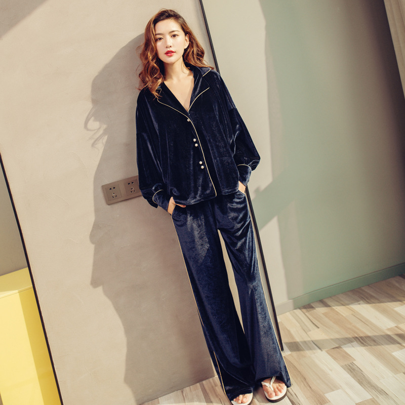 yomrzl A566 New arrival spring and winter velvet women's pajama set long sleeve simple home sleepwear Luxury daily sleep set
