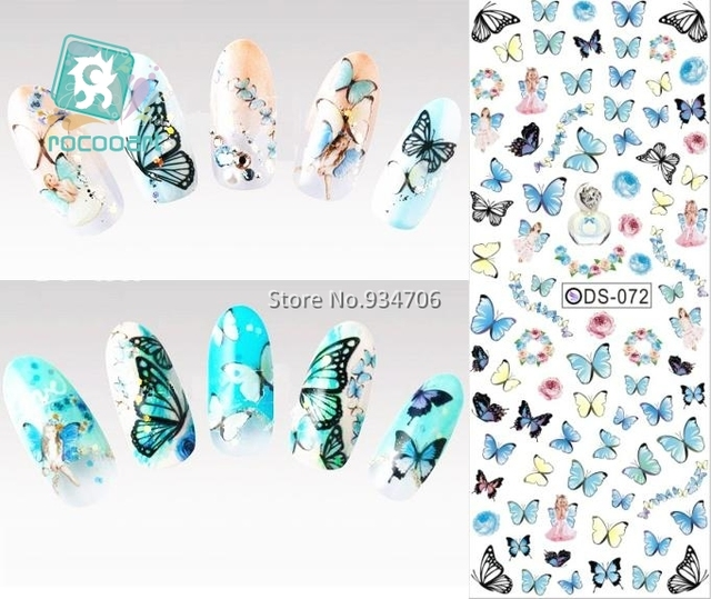 RU2PCS DS072 2017 Nail Design Water Transfer Nails Art Sticker Color Butterfly Nail Wraps Sticker Watermark Fingernails Decal