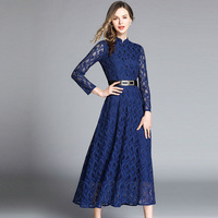 S 2XL Plus Size Sping Lace Dress Hollow Out Women Long Sleeve Floral Crochet Casual Blue Dresses Long Vestidos