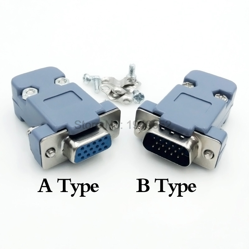 DB15 15 Hole Pin 3 Rows Parallel VGA Port Adapter Male Female Plug Socket Solder Welded Connector+Plastic Shell Cover