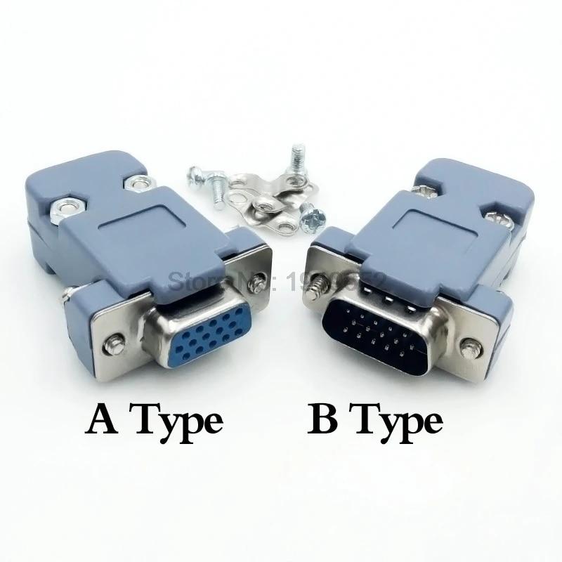 D-Sub Gender Changer Seriell Adapter Com Port+Shell-M /& Female VGA15 DIY 15-pol