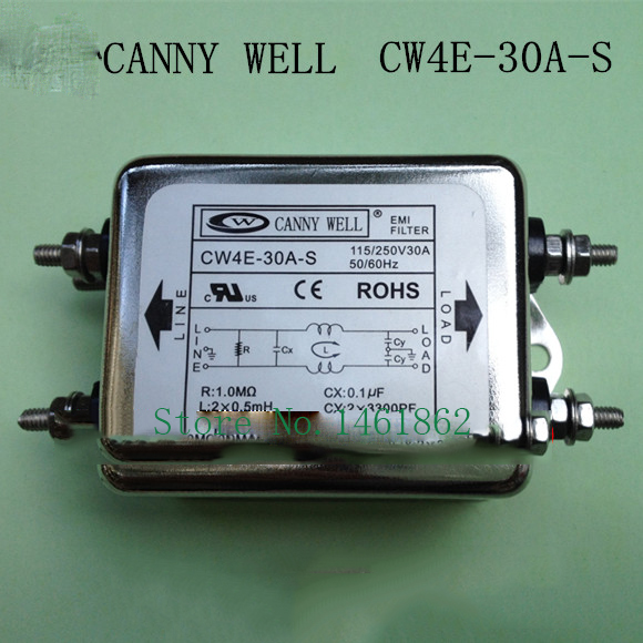 CW4E-30A-S  AC 110-250V 30A EMI power filter power supply filter purifier Electrical Equipment  cw15e 06a t emi power supply filter 110 250v 6a ac electrical equipment adapters power supplies