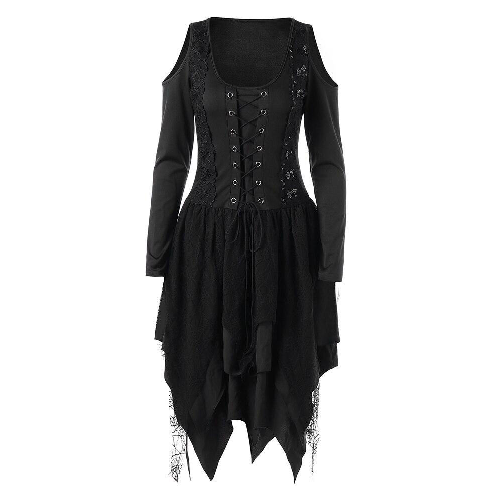 2019 mode femmes robe gothique décontracté femmes automne hiver à manches longues robe asymétrique rouge noir goth robes dentelle dames