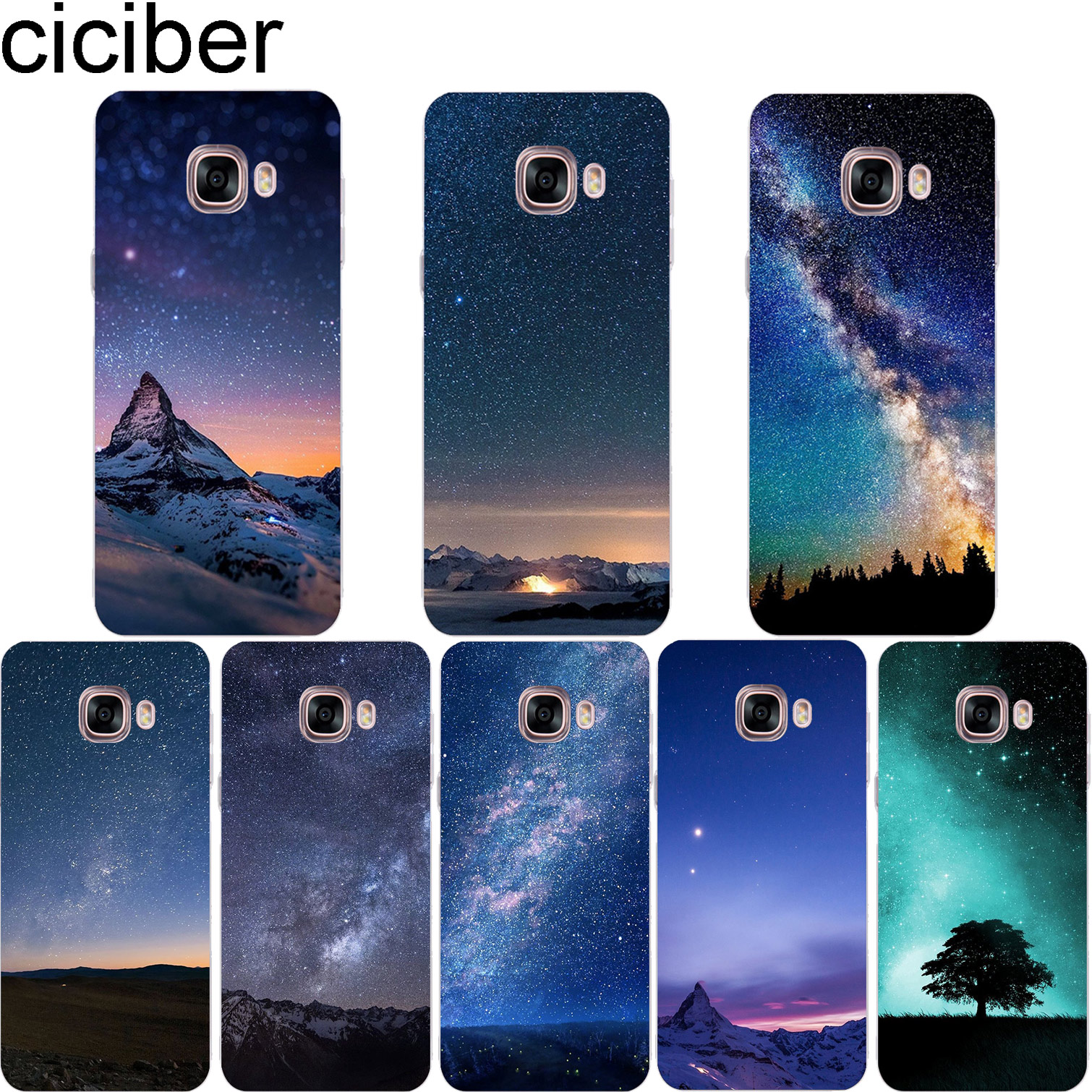 ciciber Northern Lights Phone Case for Samsung Galaxy Note 9 8 3 4 5 Soft TPU Clear Cover C7 C9 C8 C5 Pro 2017 Coque
