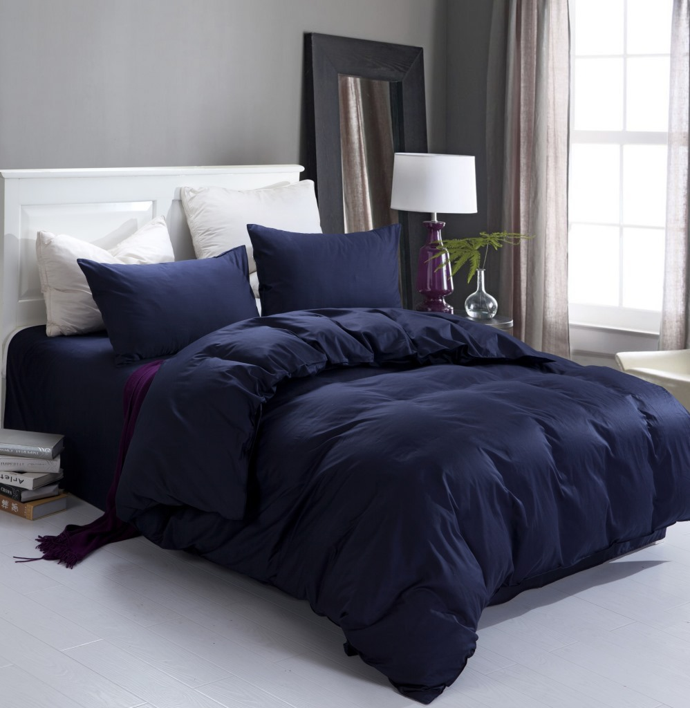 Dark blue bedding - New Navy Blue High Quality Home And Hotel Bedding Set 2 Pillow Case 1 Bed Sheet And 1 Duvet Cover Bed Cover