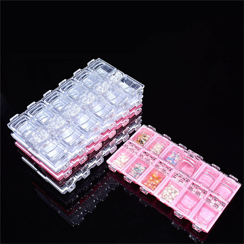 12 Slots Diamond Jewelry Boxes Storage diamant schilde Adjustable Organize Space Embroidery Box Craft Beads Home Storage Tools