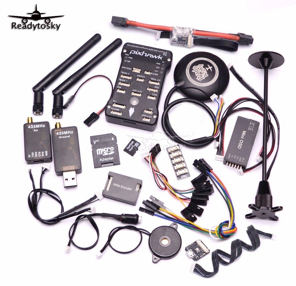 Pixhawk PX4 PIX 2.4.8 32 Peu Vol Contrôleur + 433/915 Télémétrie + M8N GPS + Minim OSD + PM + Interrupteur de sécurité + Buzzer + RGB + PPM + I2C + 16G SD
