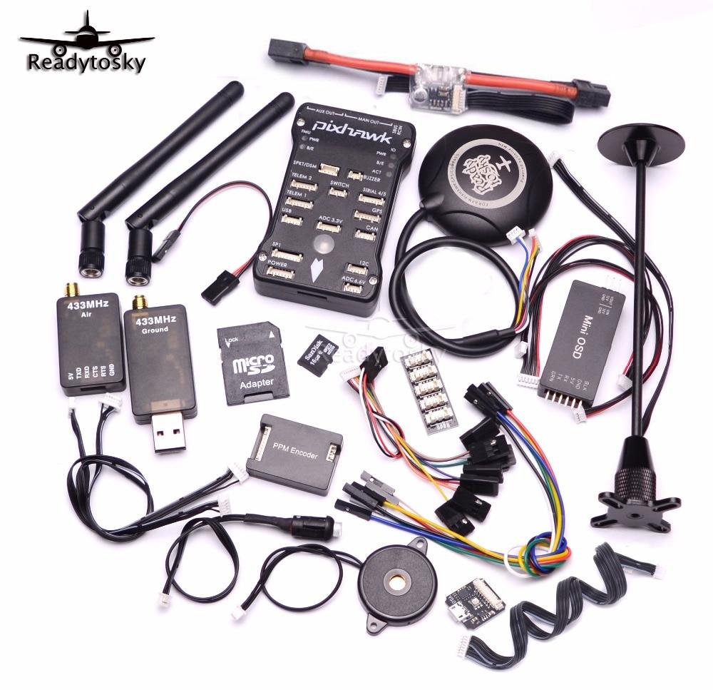Pixhawk px4 PIX 2.4.8 32 бит Игровые Джойстики + 433/915 телеметрии + m8n GPS + minim OSD + pm + Детская безопасность выключатель + зуммер + RGB + стр./мин + I2C + 16 г SD