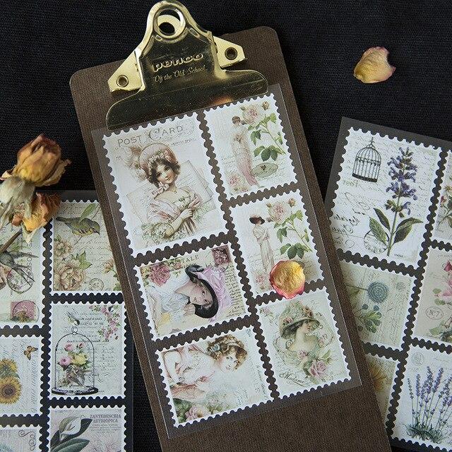 3 pcs/pack Retro Stamp Decorative Washi Stickers Scrapbooking Stick Label Diary Stationery Album Stickers