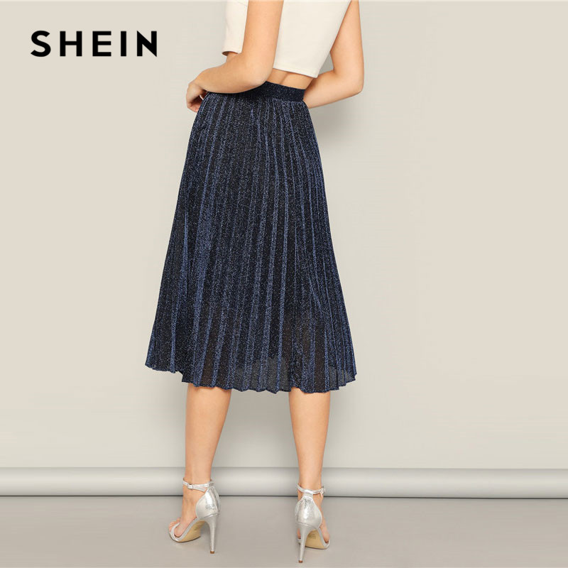 SHEIN Lady Navy Elastic Waist Glitter Solid Glamorous Long Pleated Skirt 2019 Spring Women High Street Casual Midi Skirts 2