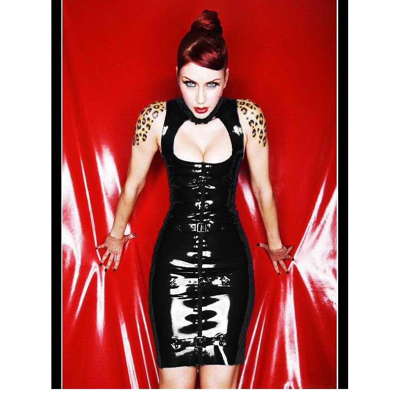 Sexy Black Vinyl Black Sexy Faux Leather Bodycon Turtleneck Sexy Dress Party Night Club Dresses Woman Party Night Bodycon Dress