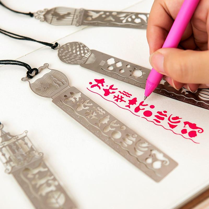Bookzzicard Ruler Tools Slitless Metal Bookmark Ruler Metal Straight Ruler