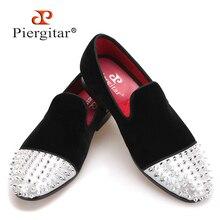 Piergitar nuevo estilo zapatos de los hombres hechos a mano de terciopelo con remache del dedo del pie de cuero de moda de los hombres casuales mocasines zapatilla de fumar de los hombres pisos