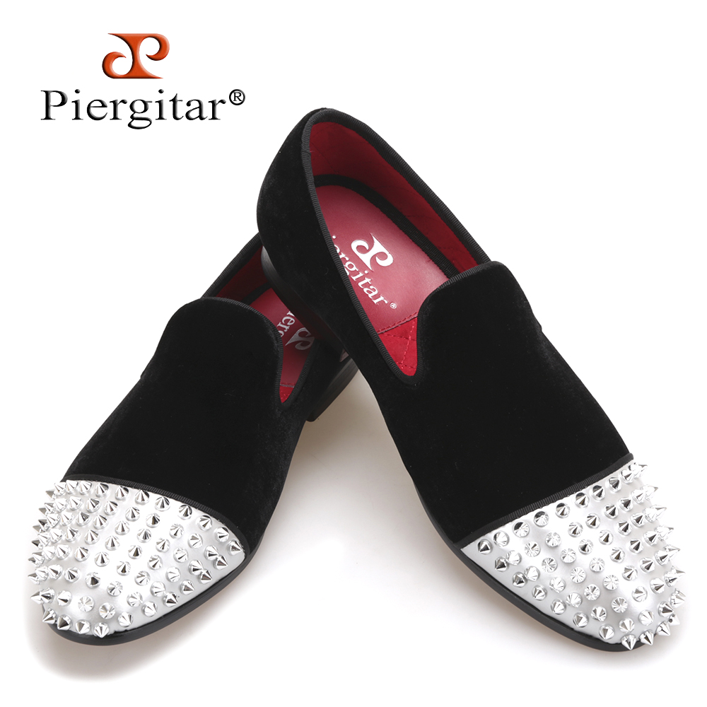 PIERGITAR new style Handmade men velvet shoes with Rivet Leather Toe Fashion men's casual loafers smoking slipper men's flats piergitar new style leopard pattern special fabrics handmade men loafers fashion men casual shoes british style smoking slipper