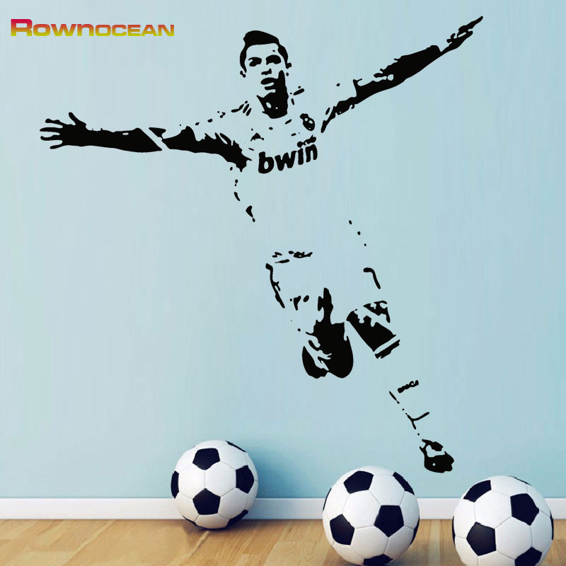 Ronaldo Player Removable Wall Art Stickers DIY Vinyl Decals Kids Decor Football Kickers Star Wall Sticker Vinyl Removable <font><b>D518</b></font> image