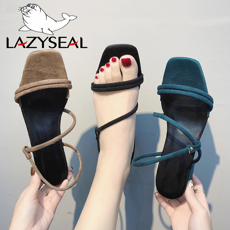 LazySeal Shoes Women Sandals Suede Square Heels Peep Toe Buckle Strap High Quality Womens Fashion Summer Shoes Plus Big Size 44LazySeal Shoes Women Sandals Suede Square Heels Peep Toe Buckle Strap High Quality Womens Fashion Summer Shoes Plus Big Size 44