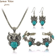 Lemon Value Boho Statement Women Jewelry Sets Vintage Charms Crystal Drop Earrings Bracelet Fashion Bohemia Owl Necklace A060