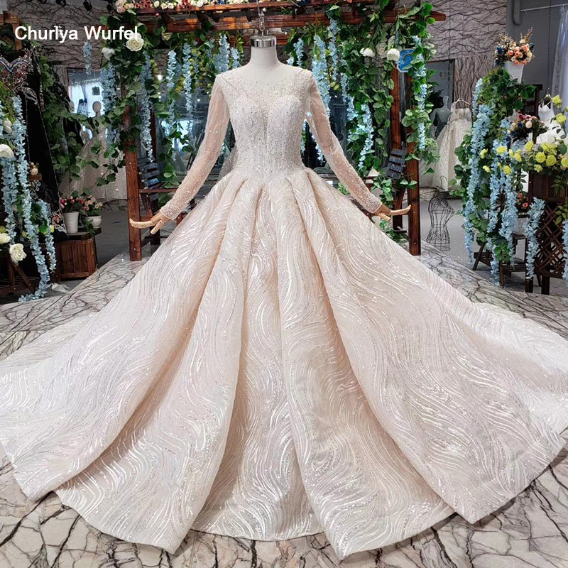 HTL474 Luxury High-end Wedding Dresses With Train Tulle Long Sleeves O Neck Ball Gown Wedding Gown New Material Vestidos De Boda