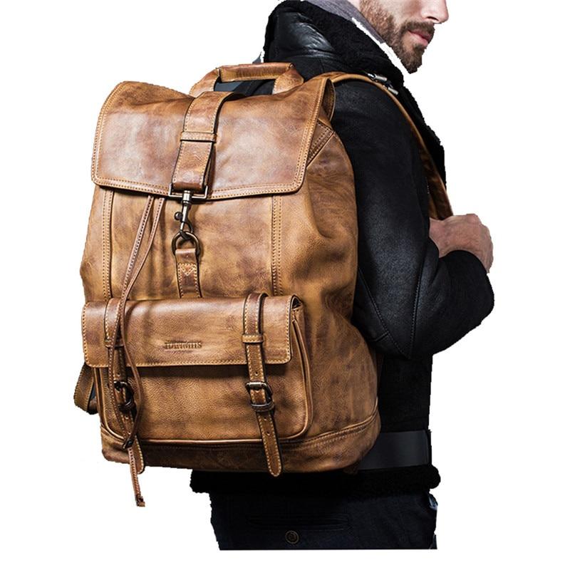 Cuero de vaca de lujo de gran capacidad mochila de viaje bolsa de ordenador minimalista Casual de los hombres de grano completo al aire libre de cuero genuino