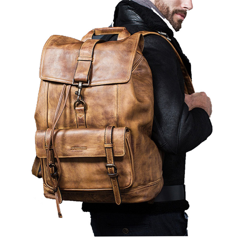 Luxury Cow Leather Large Capacity Backpack Travel Bag Men's Casual Minimalist Computer Bag Full Grain outdoors genuine leather