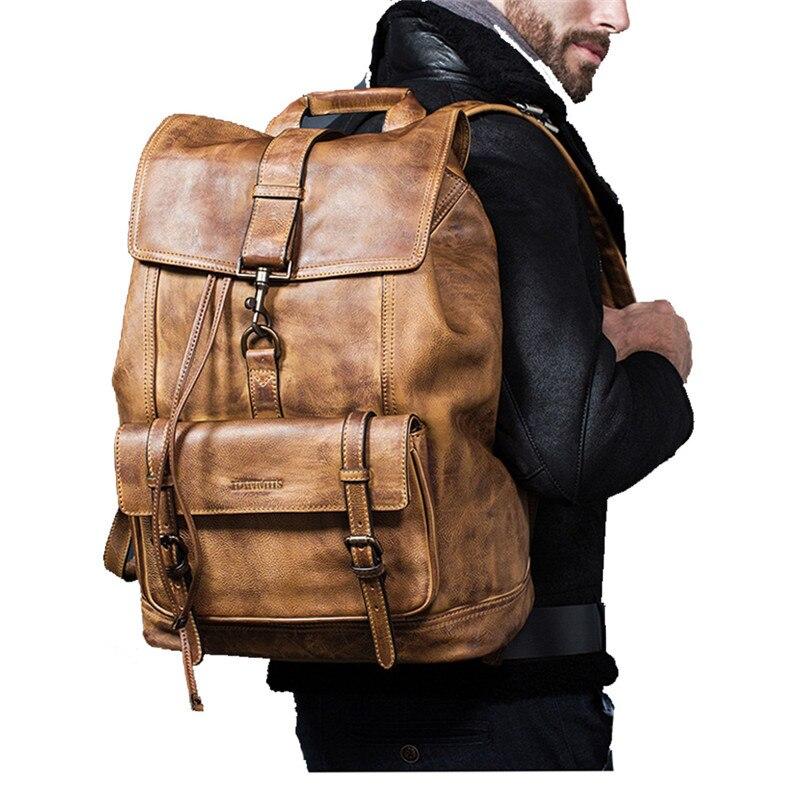 Luxus Kuh Leder Große Kapazität Rucksack Reisetasche männer Casual Minimalistischen Computer Tasche Full Grain freien echtem leder