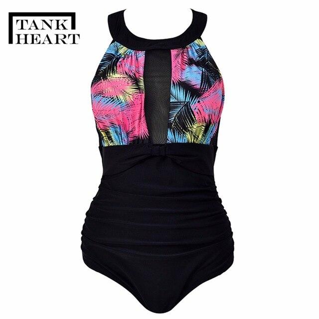 Zbiornik serce Sexy Potos jeden-wieloczęściowe kombinezony Monokini Plus rozmiar stroje kąpielowe jednoczęściowy strój kąpielowy dla kobiet dziewczyny Badpak pływać strój kąpielowy kobiet