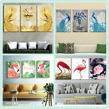 New 5D Diamond Painting Peacock Flamingo 3d Square Embroidery Animal Cartoon Portrait Decoration 20x25cm 3pcs / set