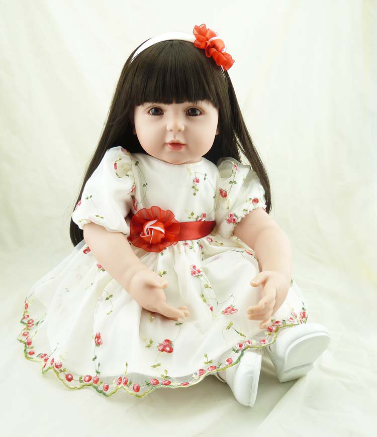 """Pursue 22""""/56cm Silicone Reborn Baby Dolls Brown Eyes Long Hair Flower Dress Like Real Princess Dolls Reborn Weighted for Cuddle"""