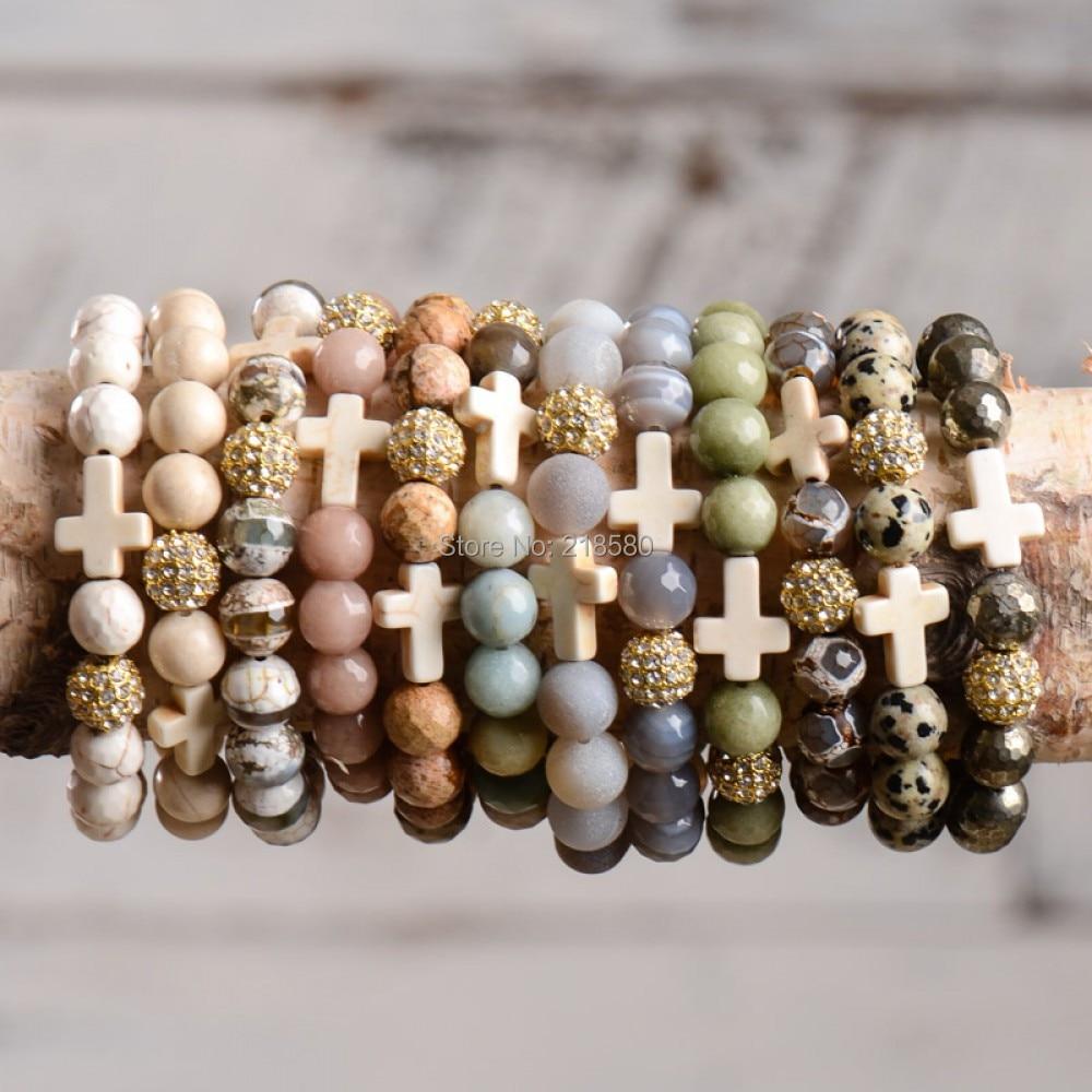 B15081401 Boho Chic Dzi Agates Stone White Turquoises Howlite Cross Bracelets