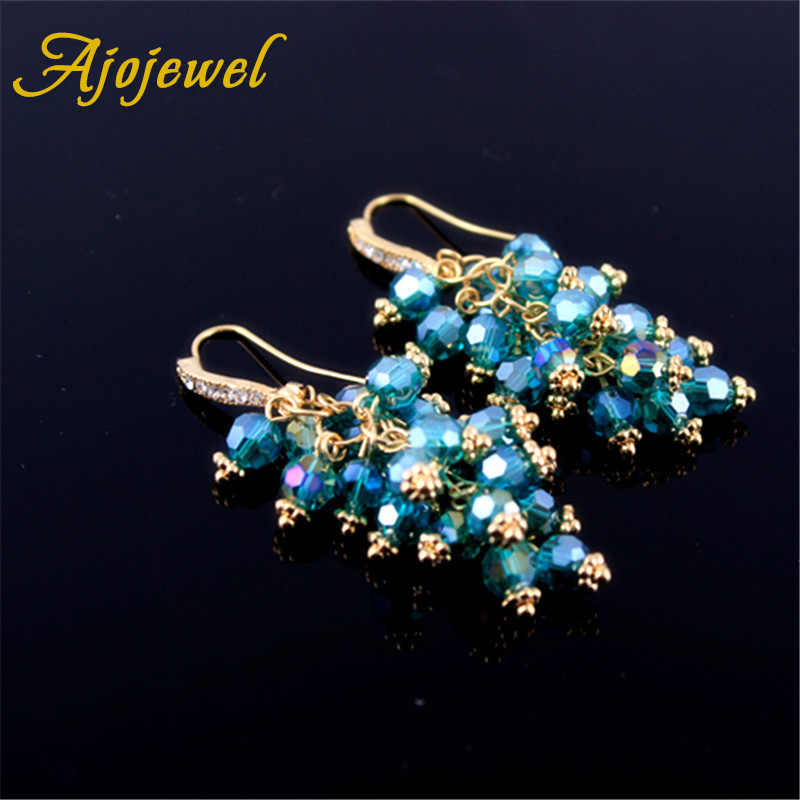 Ajojewel Blue White Black Green Tassel Earrings Women Crystal Dangle Earrings Ladies Jewelry Fashion Ear Drops