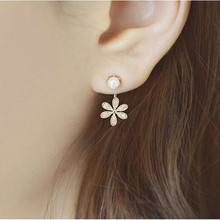 South Korean new jewelry small fragrance pearl crystal five-leaf flower stud earrings female for lady