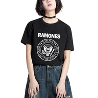 Unisex Loose Style Ramones Punk Rock 2017 Fashion Summer Women Letter Print T Shirt Swag Vogue