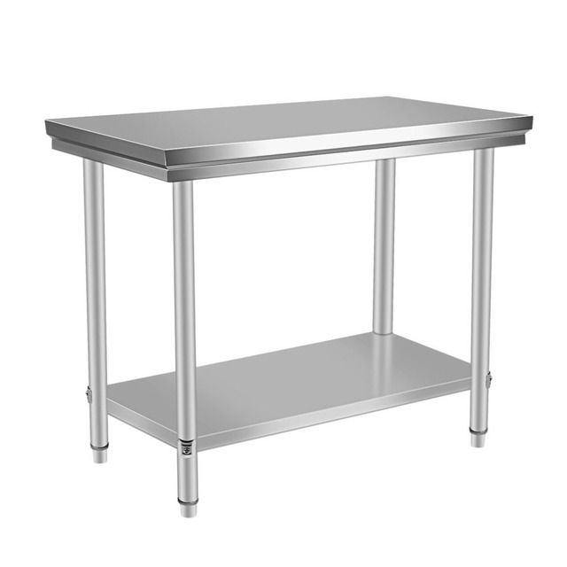 120x60x85cm Stable Large Stainless Steel Two Layers Kitchen Work Bench  Commercial Catering Stand Table Food Making