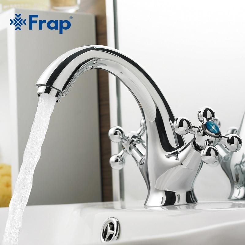 Frap 1 conjunto novo latão cromado dupla alça banheiro torneira da bacia de lavagem banho quente e fria pia misturadora interruptor f1019