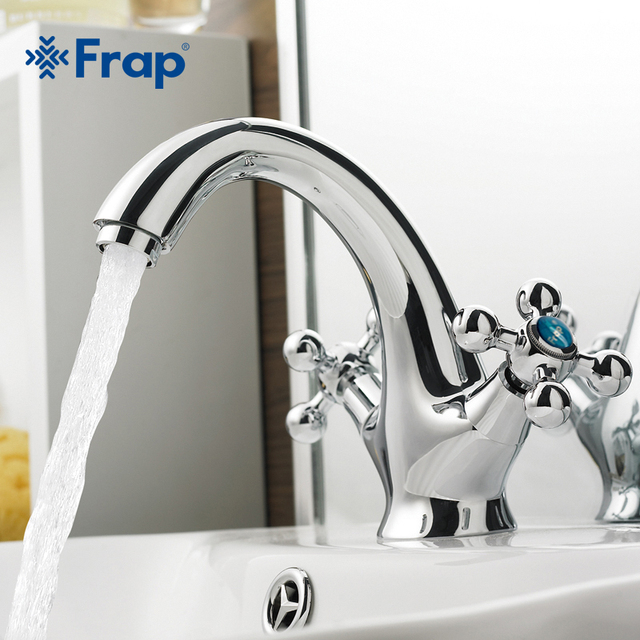 Frap 1set New  Chromed Brass Double handle Restroom bathroom wash basin faucet Hot and cold bath sink tap mixer switch  F1019