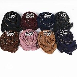Image 2 - M25 คุณภาพสูง gold chain viscose hijab ผ้าพันคอผ้าพันคอผู้หญิง shawl lady wrap headband 180*85 ซม.10 ชิ้น/ล็อต
