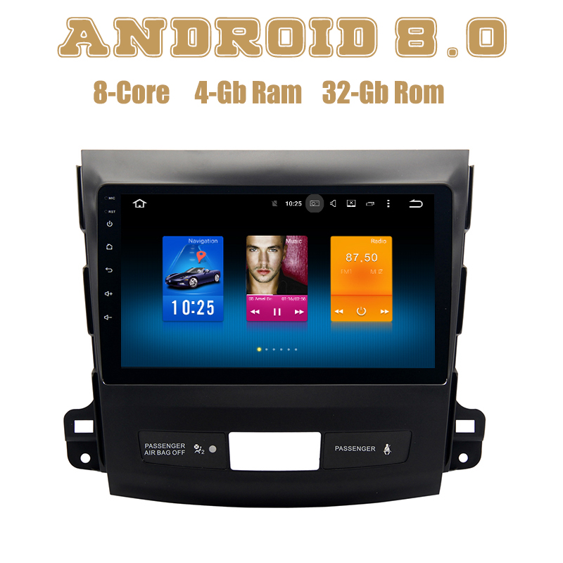 купить for Mitsubishi Outlander 2007-2012 Android 8.0 4g ram Octa Core Car radio gps with 1024*600 screen PX5 4G wifi usb Stereo Auto по цене 21546.37 рублей