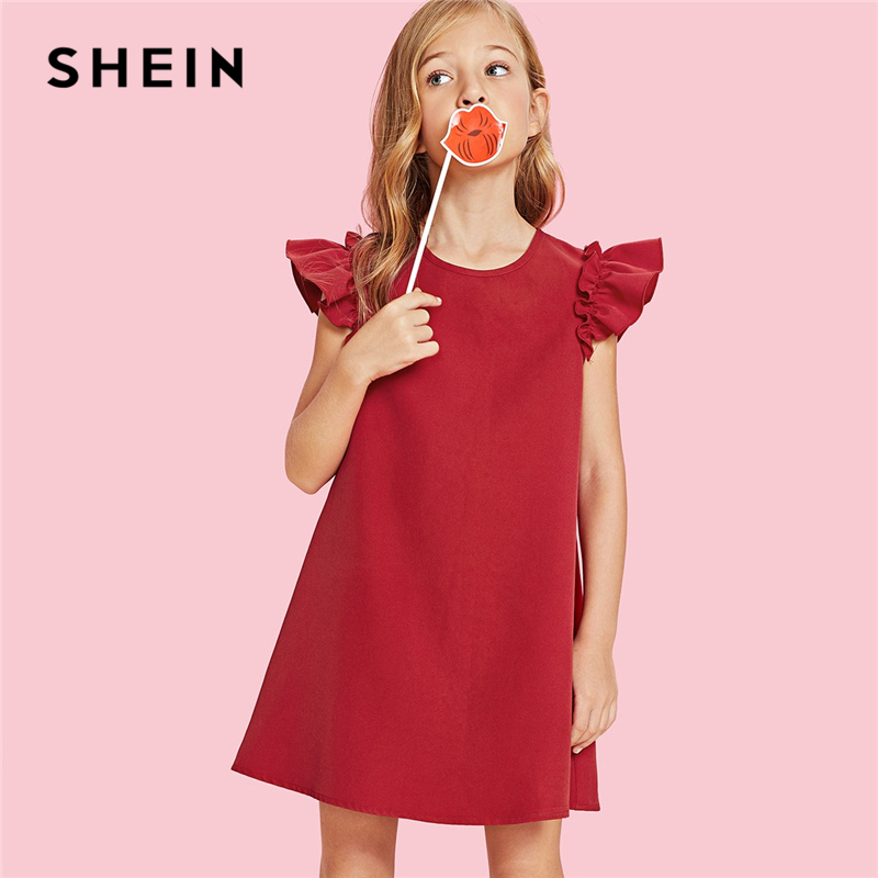 SHEIN Red Ruffle Armhole Trapeze Christmas Girl Party Dress Girls Clothing 2019 Green Korean A Line Kids Dresses For Girls striped sleeve ruffle dip hem dress