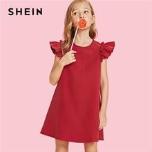 SHEIN Red Ruffle Giromanica Trapezio Di Natale Vestito Da Partito Della  Ragazza Vestiti per Ragazze 2019 Verde di Modo Coreano B.. 3c031132081