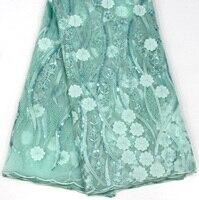 Зеленый кружева в нигерийском стиле невесты платья материалы французский чистая кружево с блестками дешевые ткани оптом (5yard/lot)