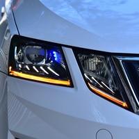 2PCS LED Headlights For Skoda Octavia 2018 Car Led Lights Double Xenon Lens Car Accessories Daytime Running Lights Fog Light
