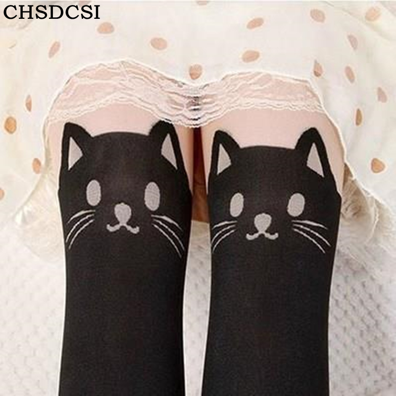 CHSDCSI Tights Pantyhose Women Sexy Stockings Cat Pattern Print Cartoon Spring&Autumn Mo ...